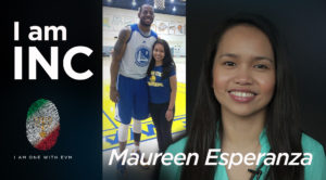 Photo collage of woman smiling with NBA basketball player with text overlay I am INC, Maureen Esperanza.