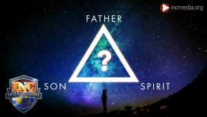 Man looking up at stars with overlay text of Father, Son, Spirit at each point of triangle with question mark in the center