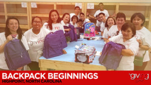 Group of volunteers gathering backpacks with overlay text Backpack Beginnings. Highpoint, North Carolina
