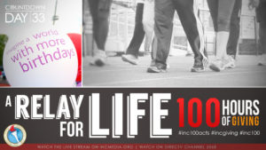 Low angle of peoples legs walking with overlay text Relay For Life 100 Hours of GIving