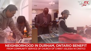 Photo collage of people fixing books and magazines; man looking through a section of DVDs; man looking looking through folded clothes with text overlay: Neighborhood in Durham, Ontario benefit from community service of Church Of Christ (Iglesia Ni Cristo)