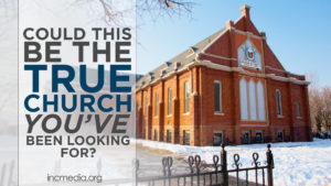 A worship building with snow on the ground with text overlay Could This be the True Church You've Been Looking For?