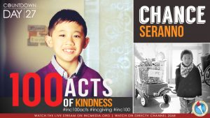 Chance Serrano smiling with overlay text 100 Acts of Kindness
