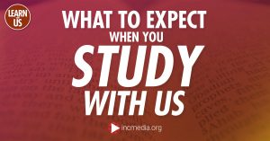 Close-up of words from the Bible with text overlay What to Expect When You Study With Us.