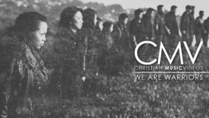 "Faded photo of people standing in line formation with intense stares with text overlay: ""We are warriors"""