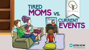 cartoon of mom, dad and 2 children watching tv
