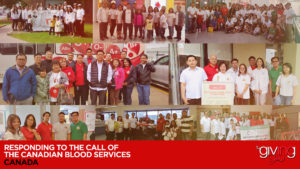 Collage of volunteers smiling with overlay text Responding To The Call Of The Canadian Blood Services