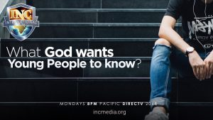 "Partial image of person sitting on steps with headphones on with text overlay: ""What God wants young people to know?"""