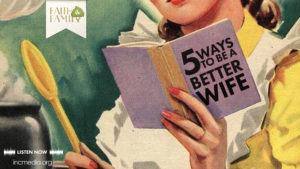 cartoon of woman reading a book titled '5 ways to be a better wife""