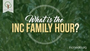 "Close up shot of grass with clock, text overlay, ""What is the INC Family Hour?"""