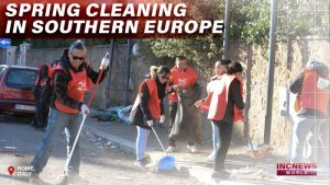 Volunteers cleaning up dirty streets