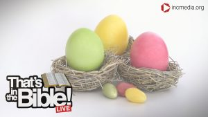Colored easter eggs with the that's in the bible logo