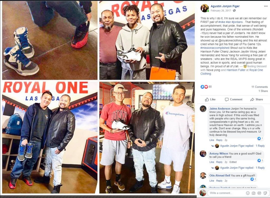 Social posts from Augustin Figer during his sneaker giveaway.