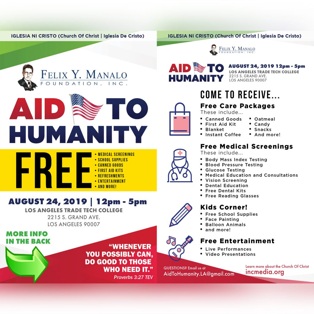 Free Aid to Humanity event services Los Angeles low-income and homeless with free medical services and school supplies, hosted by the Felix Y. Manalo Foundation.