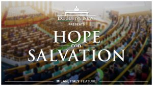 "Title Text ""Hope for Salvation"" overlay on a photo of Milan Iglesia Ni Cristo Worship Service"