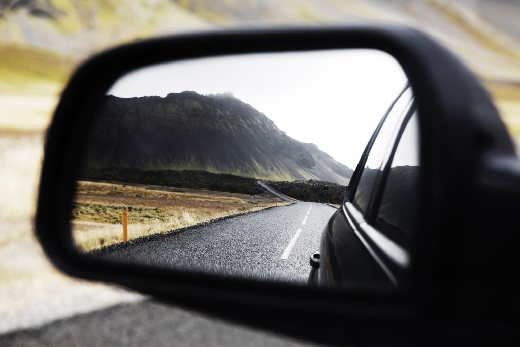 2.	Road reflected in side view mirror
