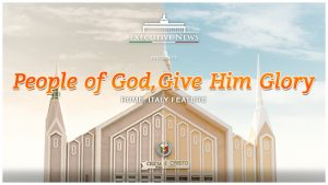 "Title Text ""People of God, Give Him Glory"" overlay with the Iglesia Ni Cristo chapel in Rome, Italy"