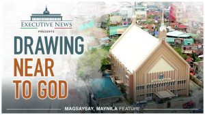 "Title Text ""Drawing Near to God"" overlay with the Iglesia Ni Cristo chapel in Magsaysay, Maynila"